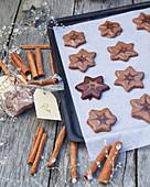 Cinnamon stars with chocolate icing