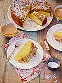 Apple crumble custard cake