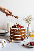 Naked carrot cake with honey