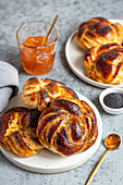 Pastry rolls with poppy seeds