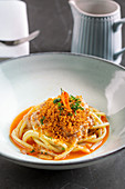 Spaghetti with bottargasauce (salted dried fish roe)