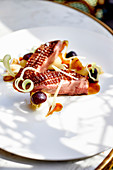 Duck breast on vegetables