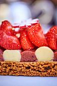 A piece of strawberry cake (close-up)