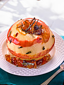 Baked apple with tea leaves