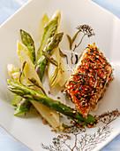 Salmon with sesame seeds and asparagus