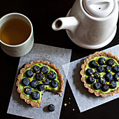 Raw avocado pie with blueberries