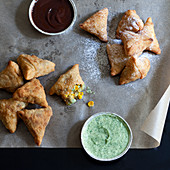 Samossa with sweet and hearty dips