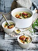 Creamy celeriac soup with scallops