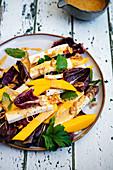 Mango and Paneer Salad with Radicchio and Shallots