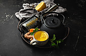 Healthy warm herbal turmeric tea for boosting immune system