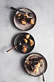 Greek donuts with chocolate sauce
