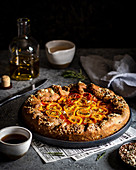 Tomato galette with olive oil