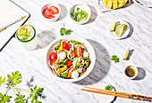 Pasta salad with mozzarella and vegetables