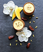 Mango lassi with dates and cardamom