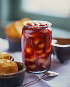 Melon-raspberry jam in a jar