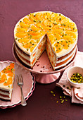 Mandarin cheesecake with pistachios