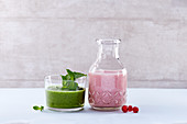 A gooseberry and pear smoothie, and a redcurrant and almond smoothie