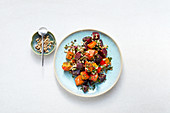 Beetroot and pumpkin salad with sunflower seeds