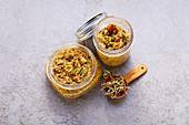 Two jars of mountain lentil pesto