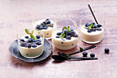 Panna mascarpone with blueberries