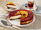 Cheesecake with mulled wine jelly
