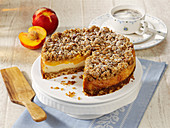Cheesecake with peach and crispy crust