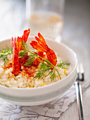 Risotto with prawns and dill