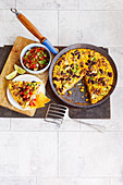 Chilli con Carne Frittata with tomato salsa, sliced