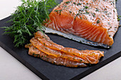 Home-smoked salmon fillet