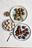 Energy bites, cardamom and chocolate bites, and cashew and coconut bites