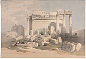 Ruins of the Temple of Baalbek, 19th century illustration