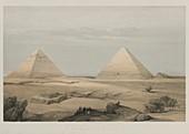 Pyramids of Giza, 19th century illustration