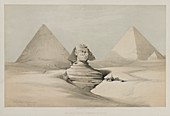 Great Sphinx, Pyramids of Giza, 19th century illustration