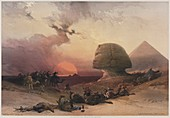 The Great Sphinx, Pyramids of Giza 1849