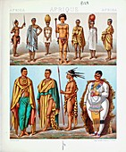 Ancient African fashion and accessories, illustration