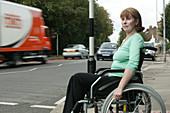 Woman using a wheelchair