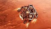 Perseverance rover descending to Mars, illustration