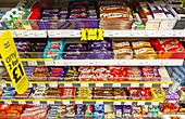 Chocolate bars on offer in a shop