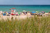 Beachgoers, Lake Michigan, USA