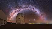 Night sky view over Cerro Tololo Observatory, Chile