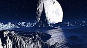 Exoplanet and moon, illustration