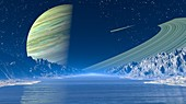 View of an exoplanet from its moon, illustration