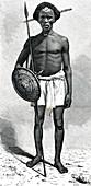 19th Century Somali warrior, illustration