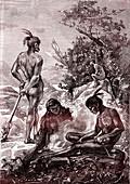 19th Century Maori men, illustration