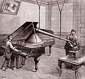 Recording with a phonograph, 19th Century illustration
