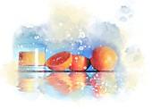 Oranges and orange juice, illustration