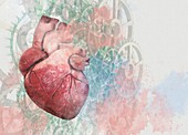 Heart and cogs, illustration