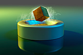 Magnet floating above a superconductor, illustration