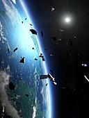 Space junk around Earth, illustration