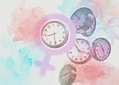 Biological clock, conceptual illustration